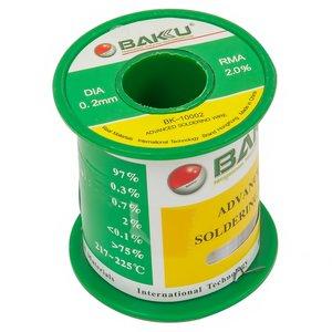 Припій BAKU BK-10002, sn 97%, ag 0,3%, 100 г, 0,2 мм, флюс 2%, cu 0,7%